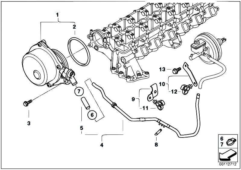 Original Parts for E60 535d M57N Sedan / Engine/ Vacuum