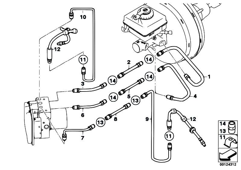 Original Parts for E60 525i M54 Sedan / Brakes/ Brake Pipe