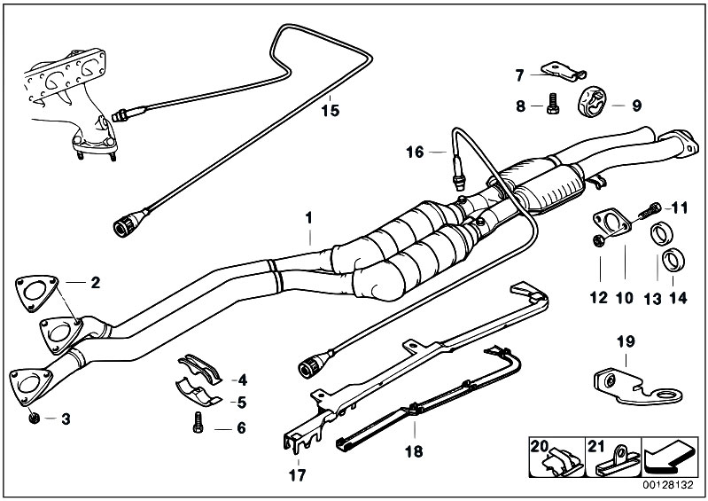 Original Parts for E36 328i M52 Sedan / Exhaust System