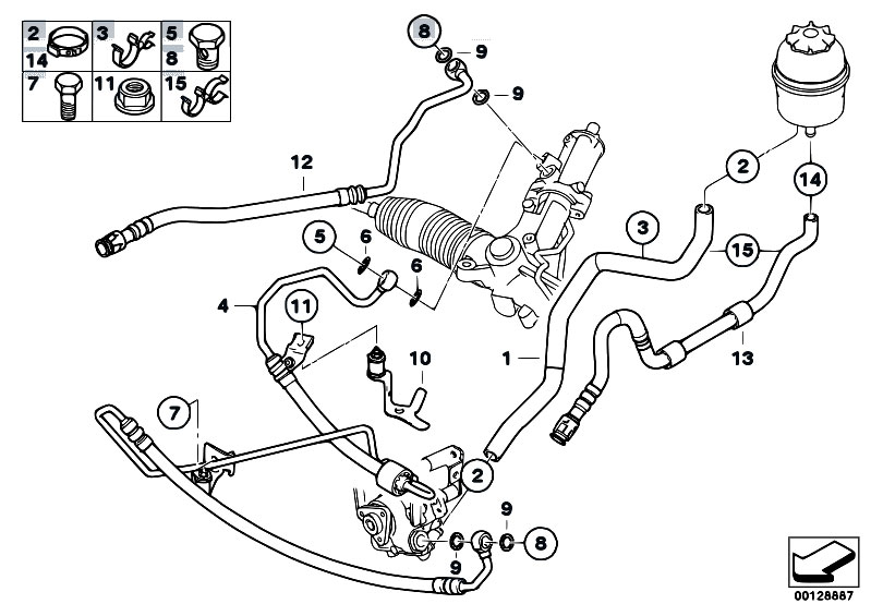 Original Parts for E60 525i M54 Sedan / Steering/ Hydro
