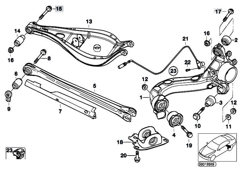 Original Parts for E46 320d M47 Touring / Rear Axle/ Rear