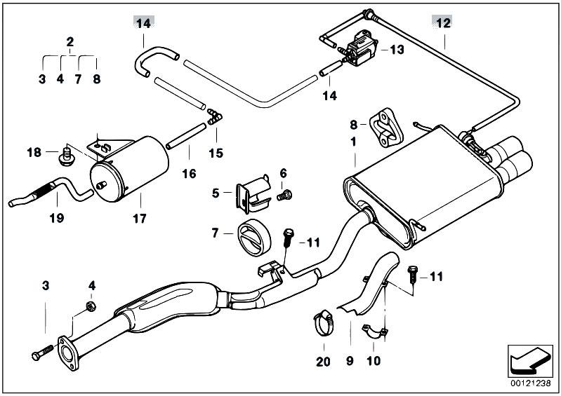 Original Parts for E36 323ti M52 Compact / Exhaust System