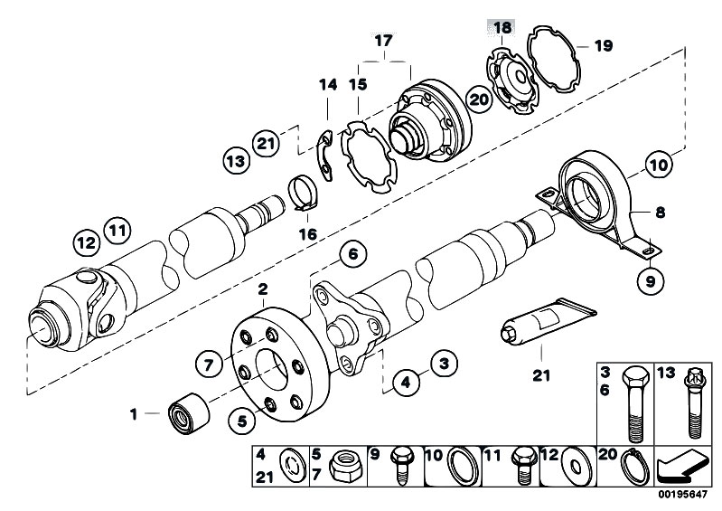 Original Parts for E61 530d M57N Touring / Drive Shaft