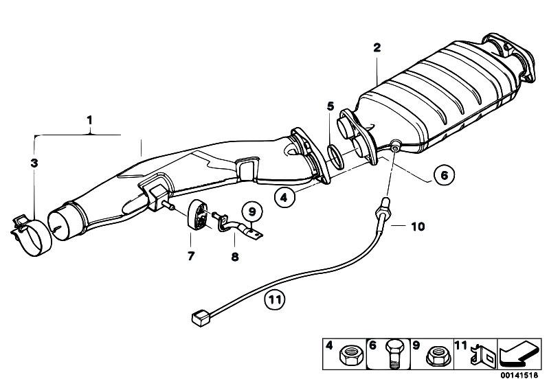 Original Parts for E60 535d M57N Sedan / Exhaust System