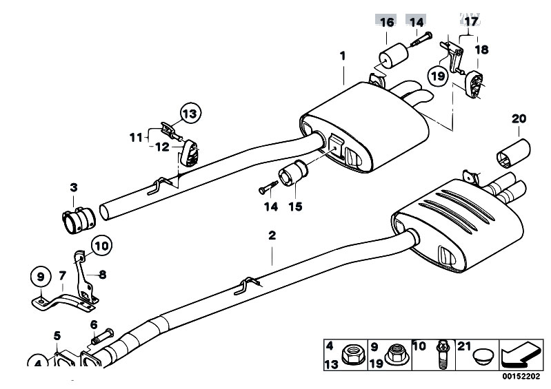 Original Parts for E60 530d M57N Sedan / Exhaust System