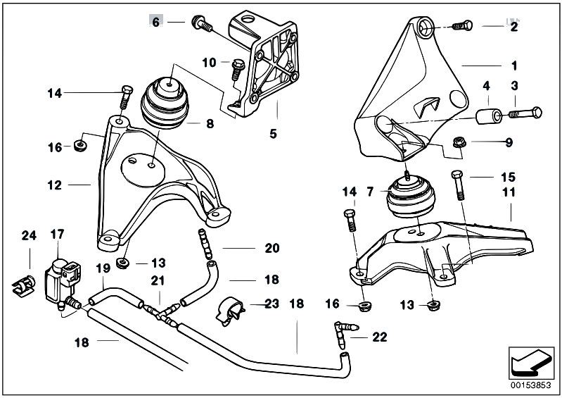 Original Parts for E39 525d M57 Touring / Engine And