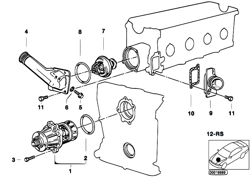 Original Parts for E36 316i M40 Sedan / Engine/ Waterpump