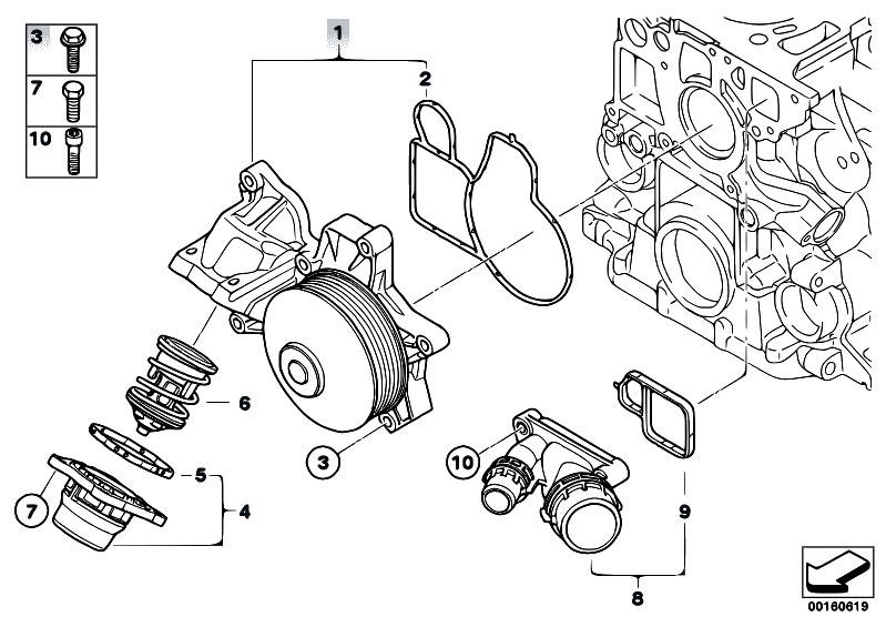 Original Parts for E60N 520d N47 Sedan / Engine/ Waterpump