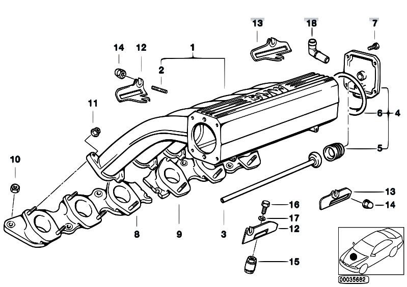 Original Parts for E31 850Ci M73 Coupe / Engine/ Intake