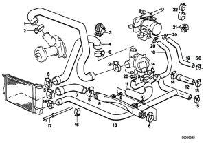 Original Parts for E34 520i M20 Sedan  Engine Cooling System Water Hoses  eStoreCentral
