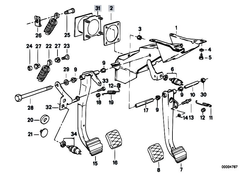 Original Parts for E30 M3 S14 Cabrio / Pedals/ Pedals Stop