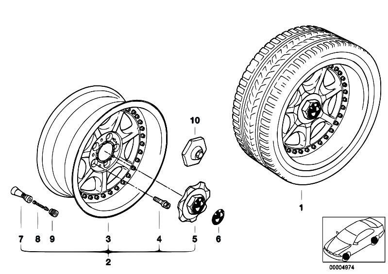 Original Parts for E36 328i M52 Sedan / Wheels/ 7 Spoke