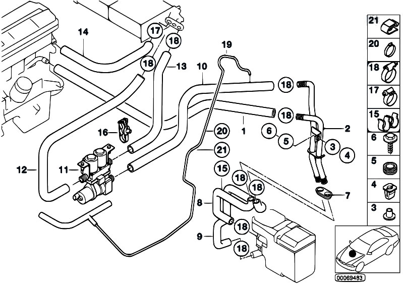 Original Parts for E39 530d M57 Touring / Heater And Air