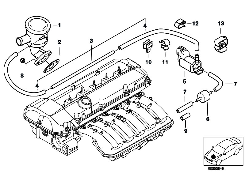 Original Parts for E46 320i M52 Sedan / Engine/ Air Pump F