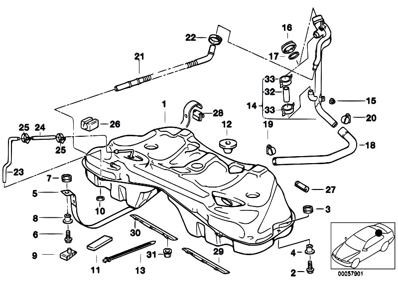 Original Parts for E38 730d M57 Sedan / Fuel Supply/ Metal