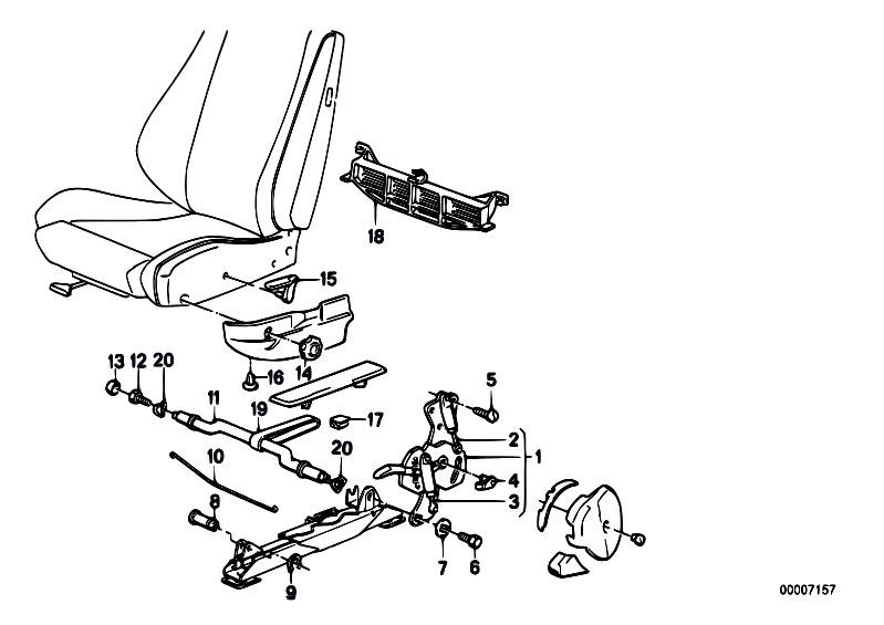 Original Parts for E30 318i M40 Cabrio / Seats/ Reclining