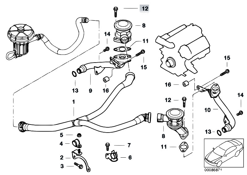 Original Parts for E65 745i N62 Sedan / Engine/ Emission