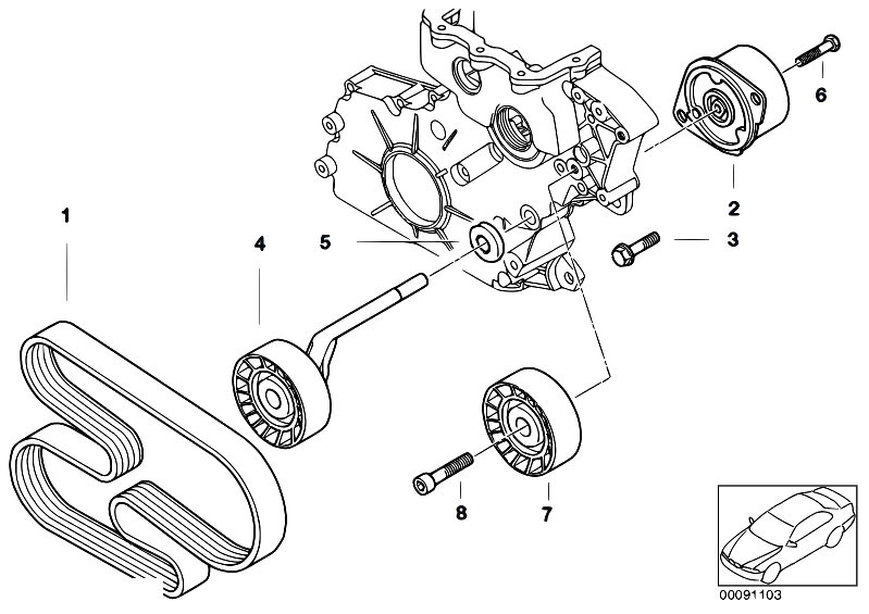 Original Parts for E60 520d M47N2 Sedan / Engine/ Belt
