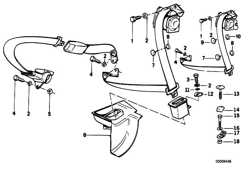 Original Parts for E34 530i M30 Sedan / Restraint System