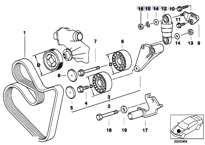 Original Parts for E39 540i M62 Touring / Engine/ Belt