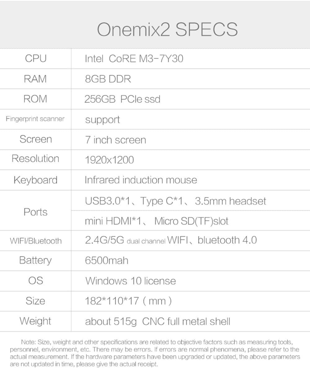 One Netbook One Mix 2 Yoga Pocket Notebook 8GB RAM 256GB