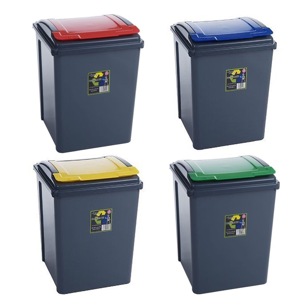 kitchen recycle bin formica cabinets plastic 50 litre garden waste rubbish 4 colours picture of