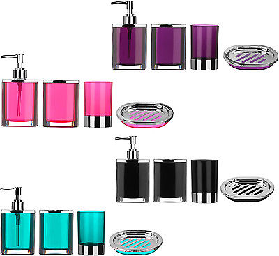 Bathroom Set 4pc Pink Plastic Body With Chrome Effect Blue