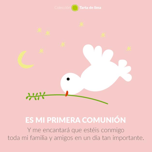 Invitaciones comunión paloma rosa