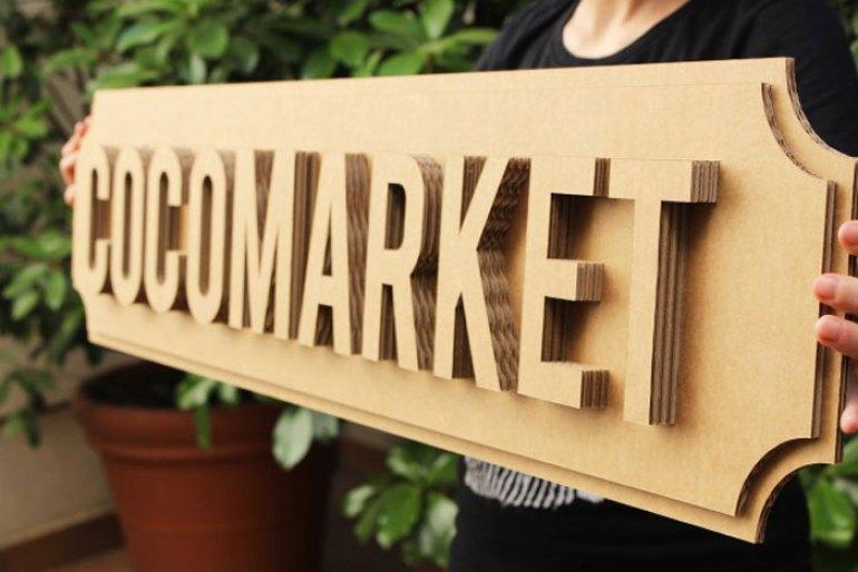 cocomarket, letrero carton, letras carton, mercado ecologico, sostenible, reciclaje, talleres, madrid