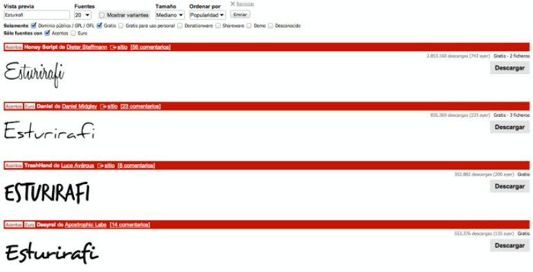 Captura de pantalla de cómo se buscan fuentes en Dafont
