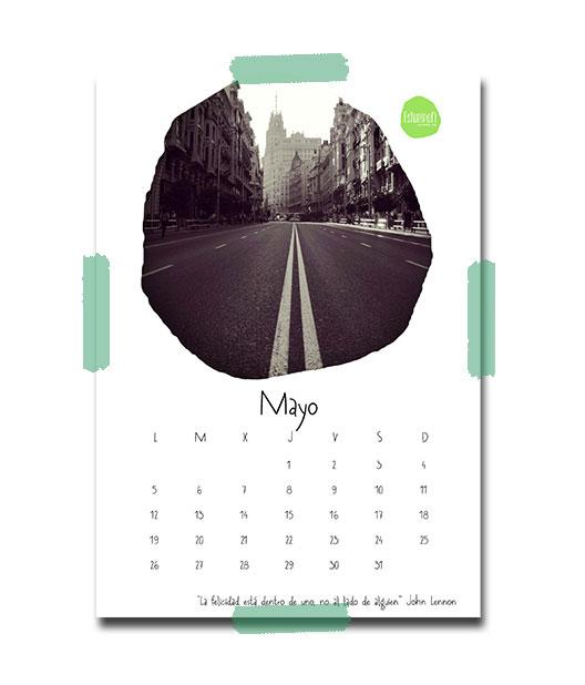 Calendario de mayo por Esturirafi con una fotografía de la Gran Vía de Madrid un 2 de mayo