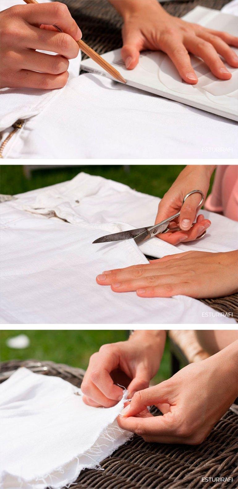DIY. Tutorial como reciclar un pantalon, cortar un pantalon, paso a paso. shorts