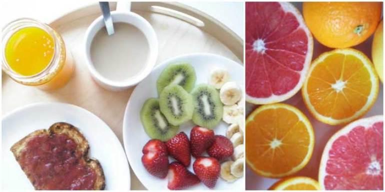 Un desayuno completo, fruta, cereales, lácteos. Desayuna, empieza el día con energía.