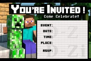 Friendly Minecraft Invitation Printable