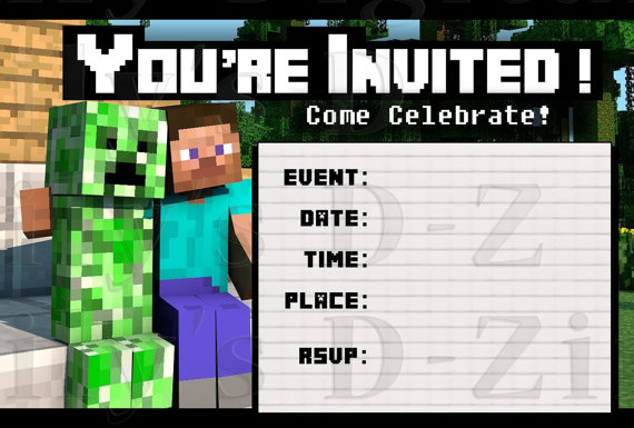 Minecraft invitation printable