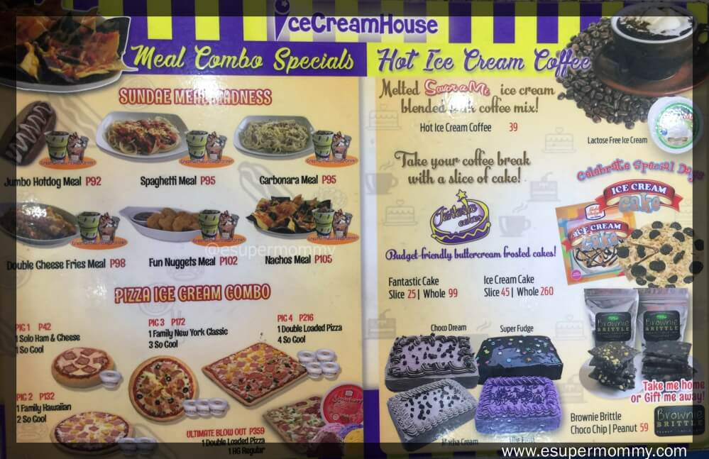 Ice Cream House Menu
