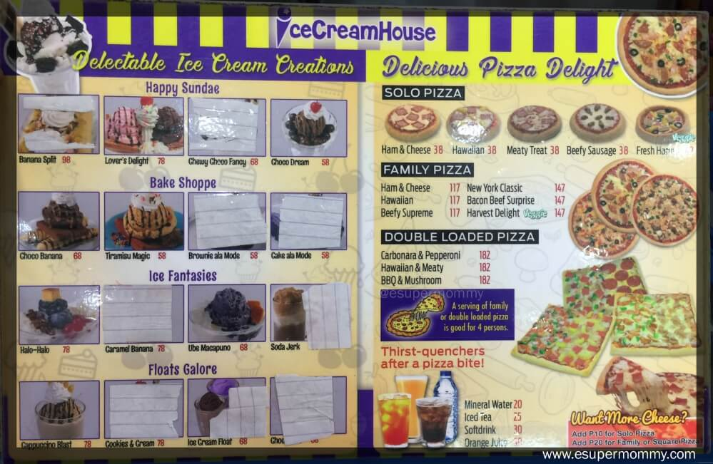 Ice CreamHouse Menu
