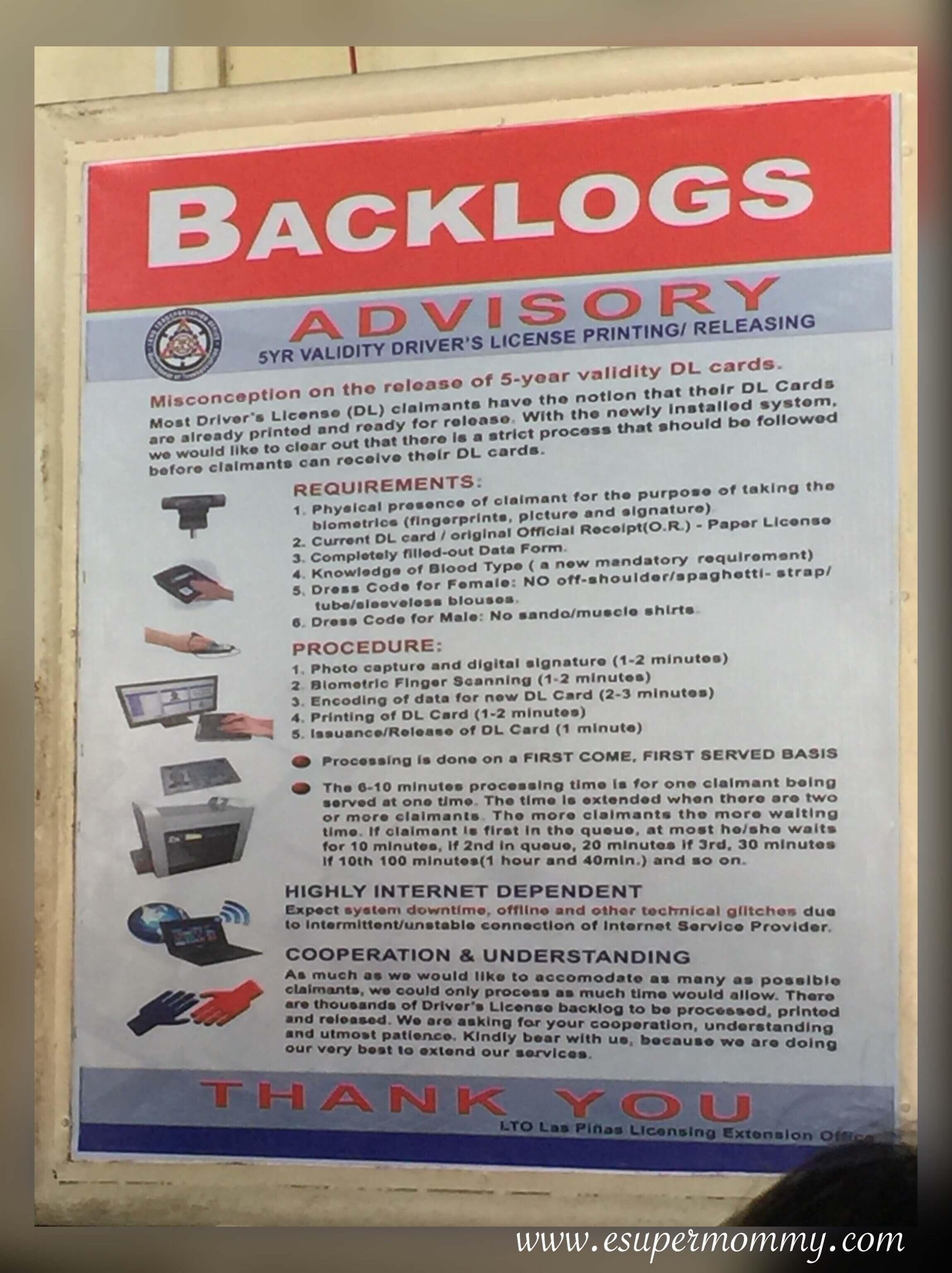 Tips on Backlogs LTO Driver's License 2018