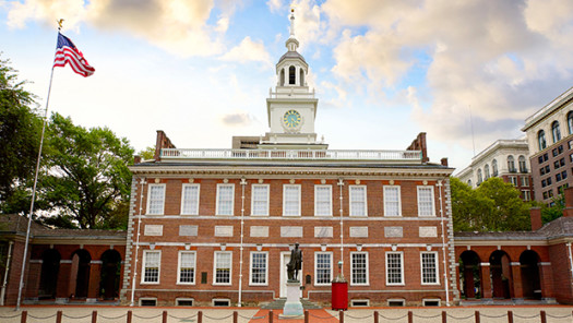 Independence hall clock tower.