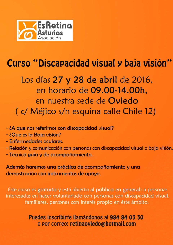 Cartel Discapacidad visual y baja visión, ES RETINA ASTURIAS, 27 y 28 de abril, Oviedo