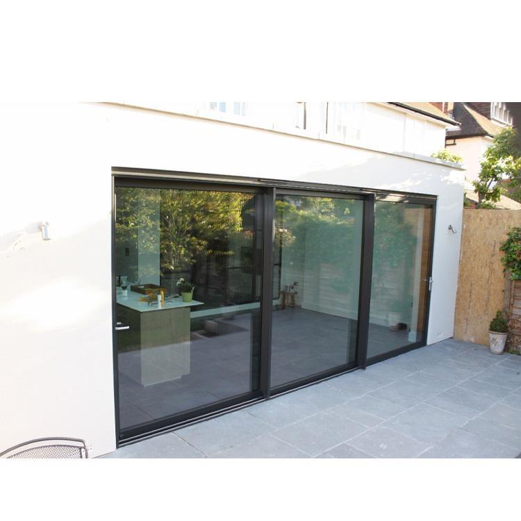 eswda exterior outdoor heavy duty 3 three panel aluminium triple glass sliding patio door system for terrace and balcony
