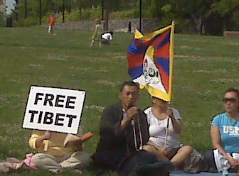 Tibetan protesters at the National Constitution Center
