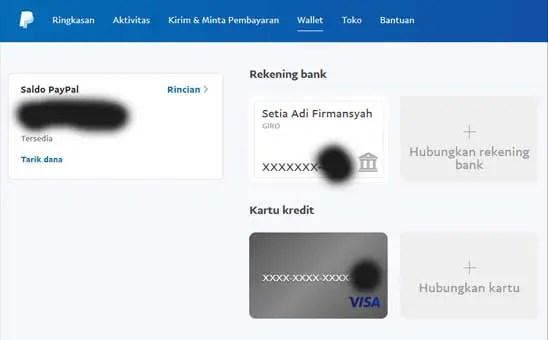 Tambah Rekening Bank 1- PayPal