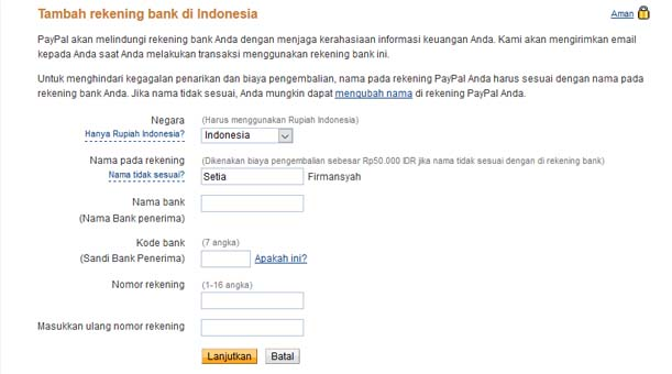 Tambah Rekening Bank - PayPal