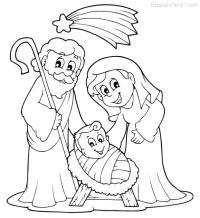 Dibujo de Navidad para colorear de Nacimiento en Beln ...