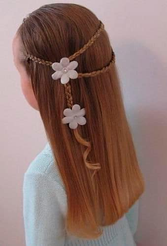 Easy hairstyle for girl Loose hair with braid detail