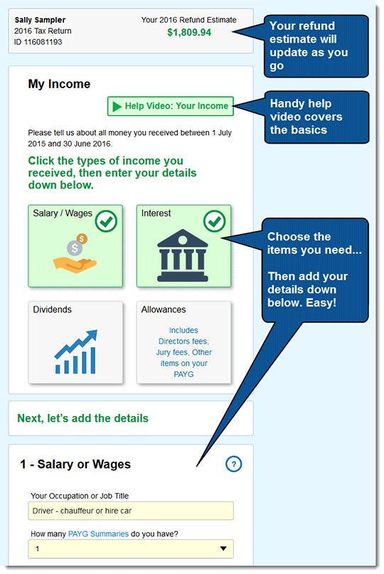 Income tax return online