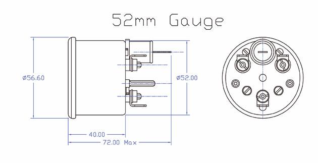 52mm Fuel Level Gauge GT40 DIP-Pipe