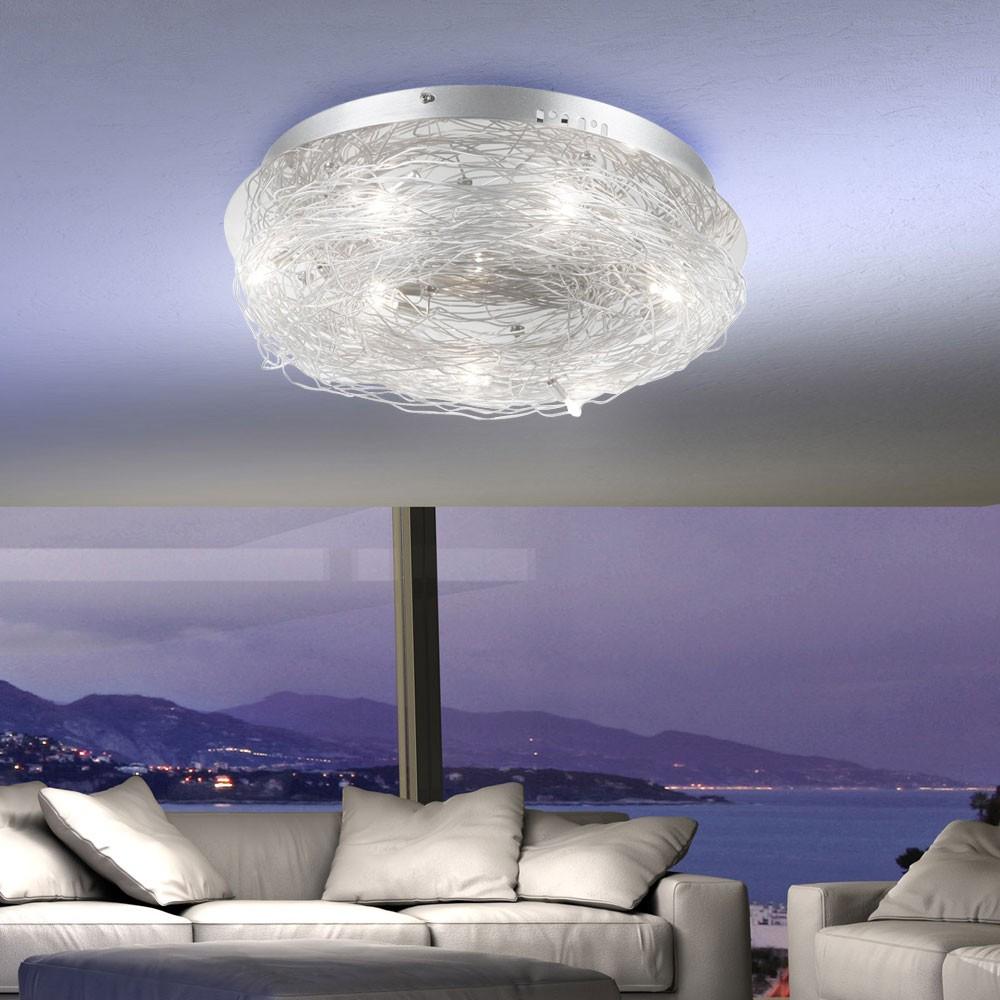 Design Deckenleuchte Wohnzimmer Deckenlampe Beleuchtung Flur Lampe Chrom Alu  eBay