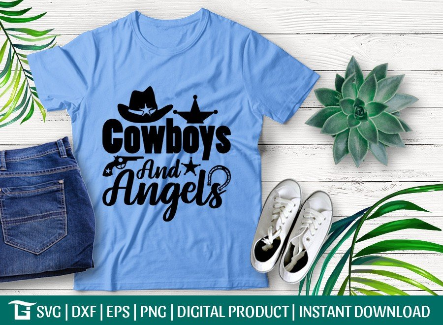 Cowboys And Angels SVG | His And Hers SVG | T-shirt Design